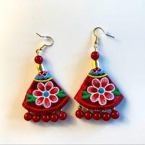 Artesanal Embroidered Beaded Dangling Earrings